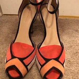Zara T-Strap suede high heels